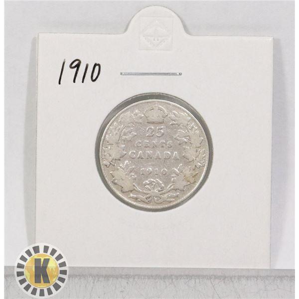 1910 SILVER CANADA 25 CENTS COIN