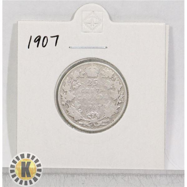 1907 SILVER CANADA 25 CENTS COIN