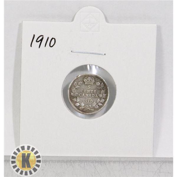 1910 SILVER CANADA 5 CENTS COIN