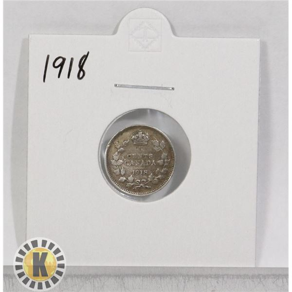 1918 SILVER CANADA 5 CENTS COIN