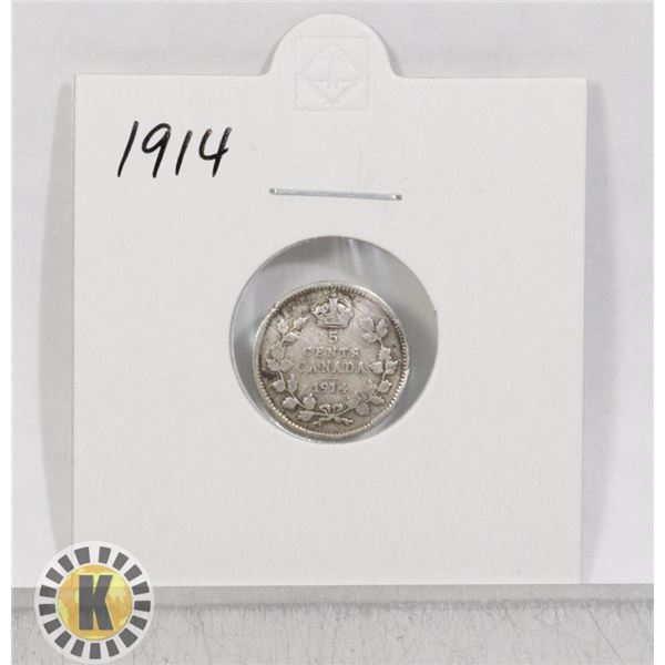 1914 SILVER CANADA 5 CENTS COIN