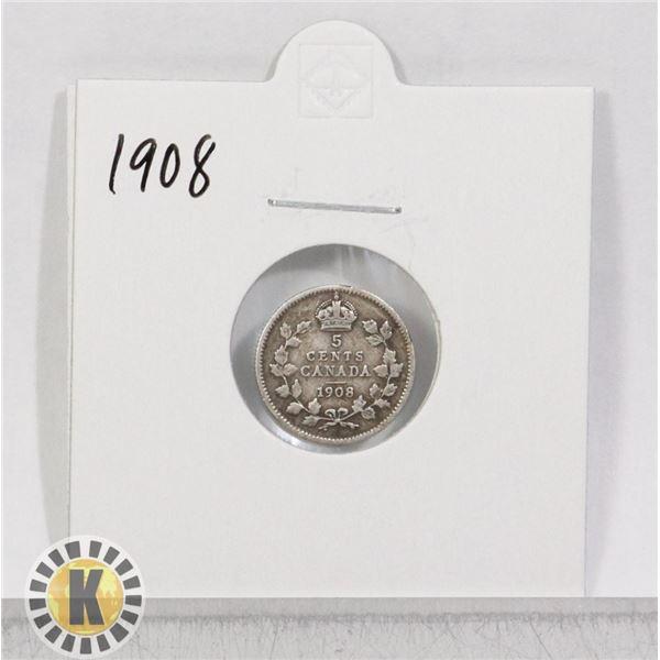 1908 SILVER CANADA 5 CENTS COIN