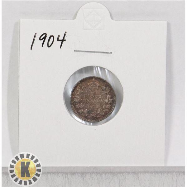 1904 SILVER CANADA 5 CENTS COIN