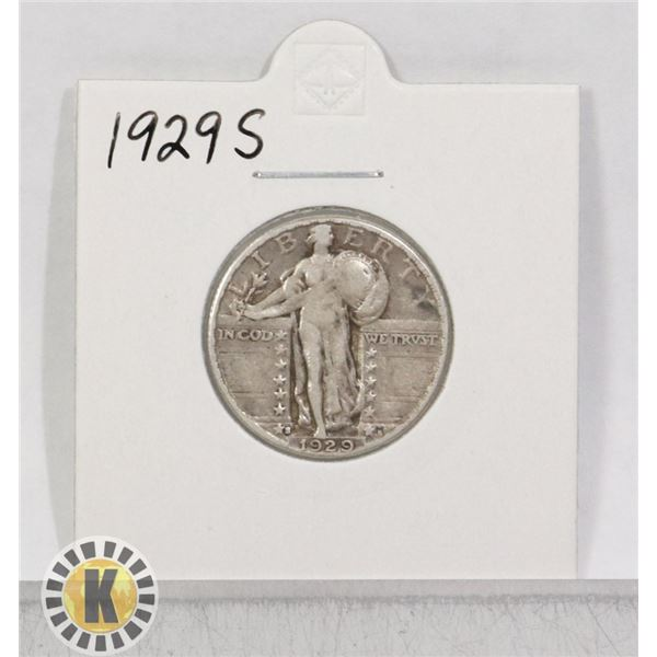 1929 S SILVER CANADA 5 CENTS COIN