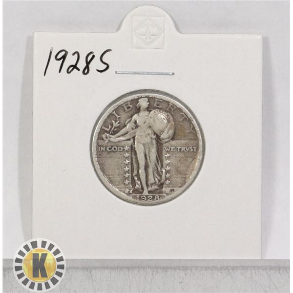 1928 S SILVER CANADA 5 CENTS COIN