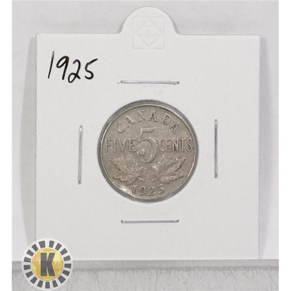 1925 KEY DATE CANADA 5 CENTS COIN