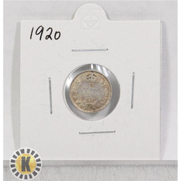 1920 SILVER CANADA 5 CENTS COIN