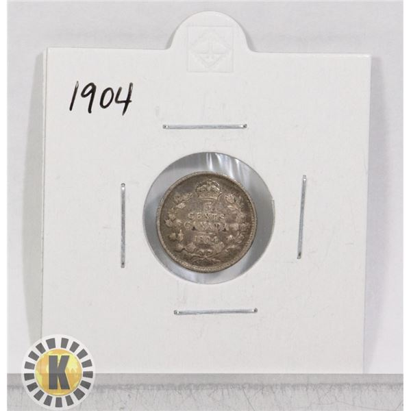 1904 SILVER CANADA 25 CENTS COIN