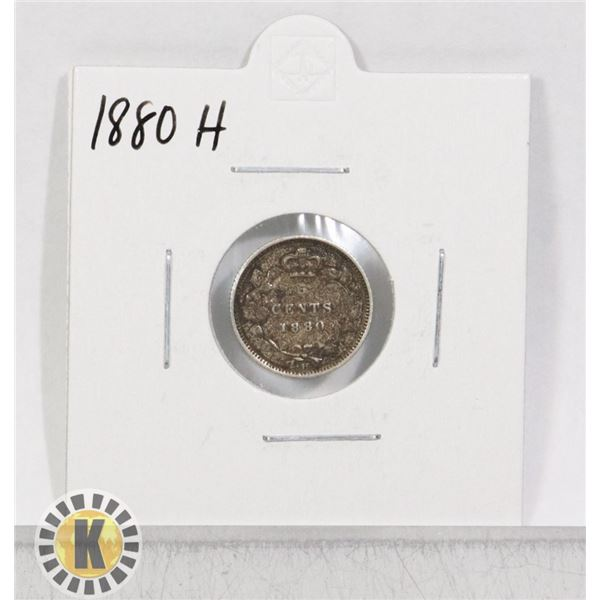 1880 H SILVER CANADA 5 CENTS COIN