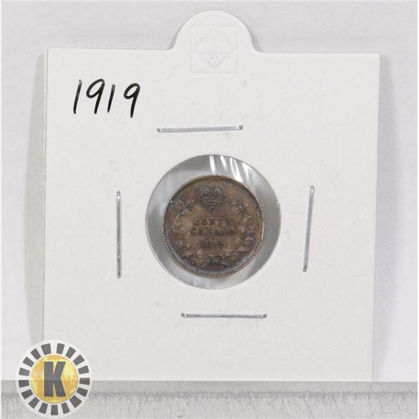 1919 SILVER CANADA 5 CENTS COIN
