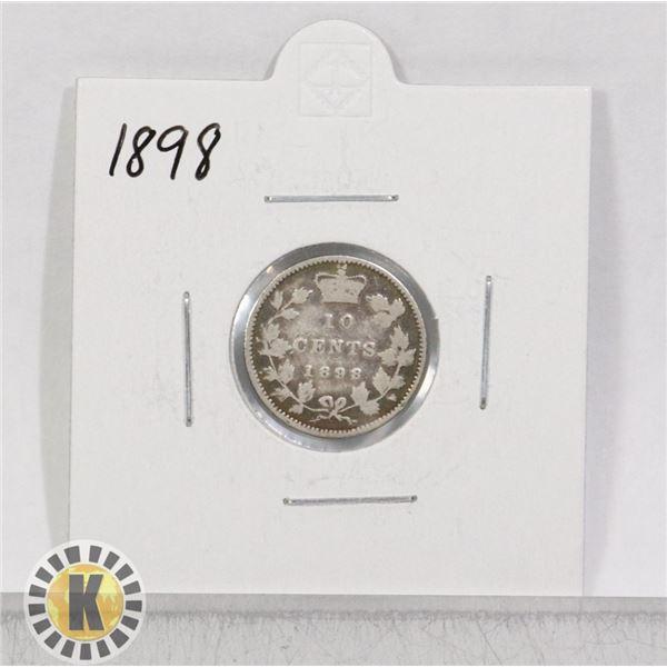 1898 SILVER CANADA 10 CENTS COIN