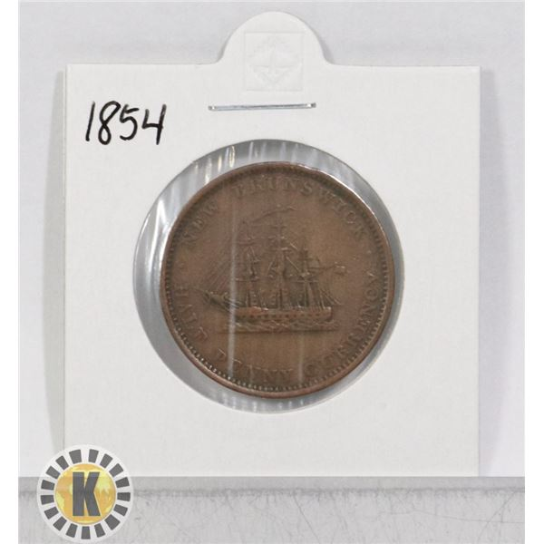 1854 NEW BRUNSWICK 1/2 PENNY COIN
