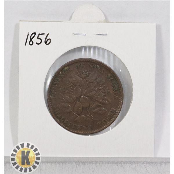 1856 NOVA SCOTIA HALF PENNY COIN