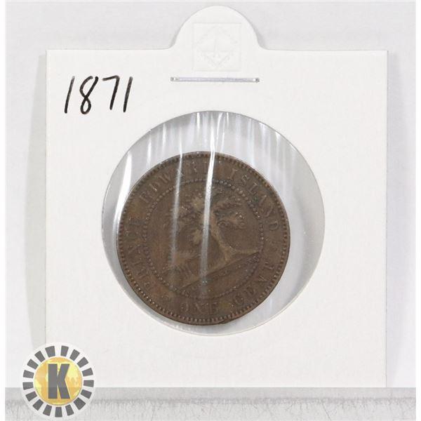 1871 PRINCE EDWARD ISLAND ONE PENNY COIN