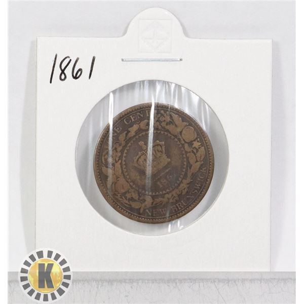 1861 NEW BRUNSWICK ONE CENT COIN