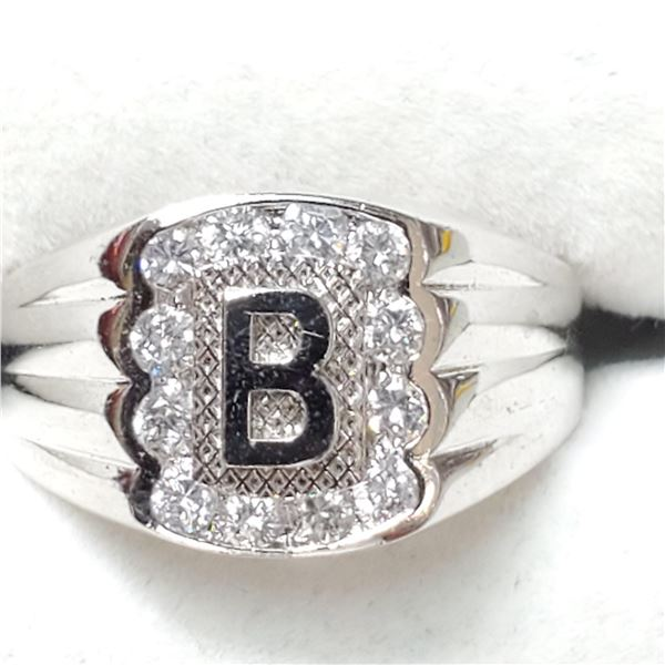 SILVER CUBIC ZIRCONIA RING (~SIZE 10)
