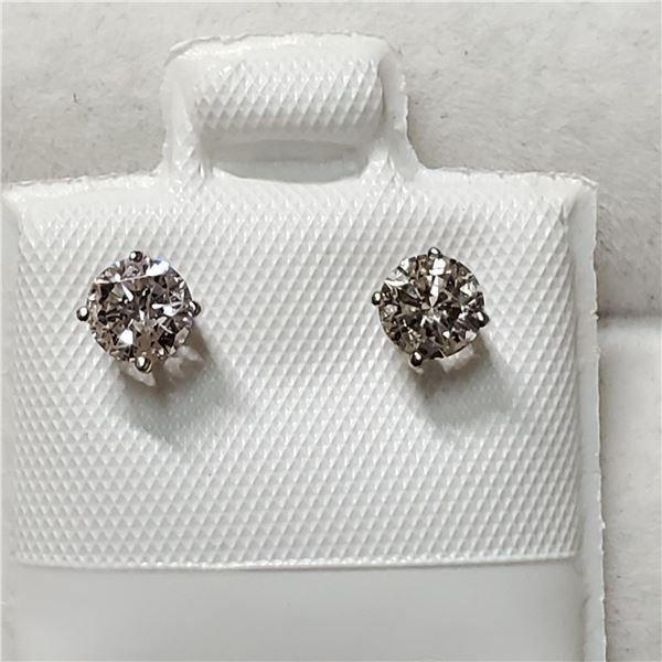 14K WHITE GOLD DIAMOND(0.6CT,SI1-SI2,G-H) EARRINGS