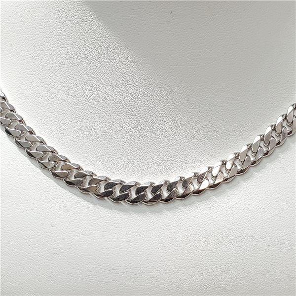 SILVER CUBAN CHAIN NECKLACE (~LENGTH 18INCHES)