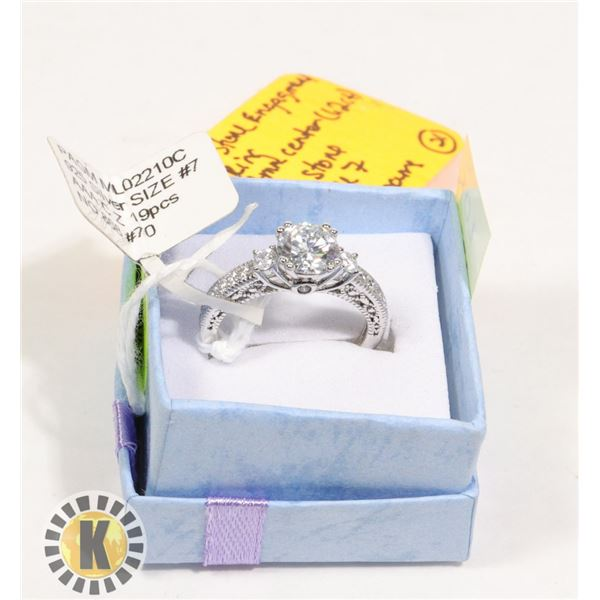 3 STONE ROUND SILVER/CZ ENGAGEMENT RING (21)