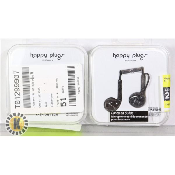 2 PACK OF HAPPY PLUGS HEAD PHONES WIRED