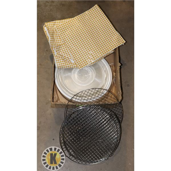 BOX OF SERVING ITEMS INCLUDING COOLING TRAYS