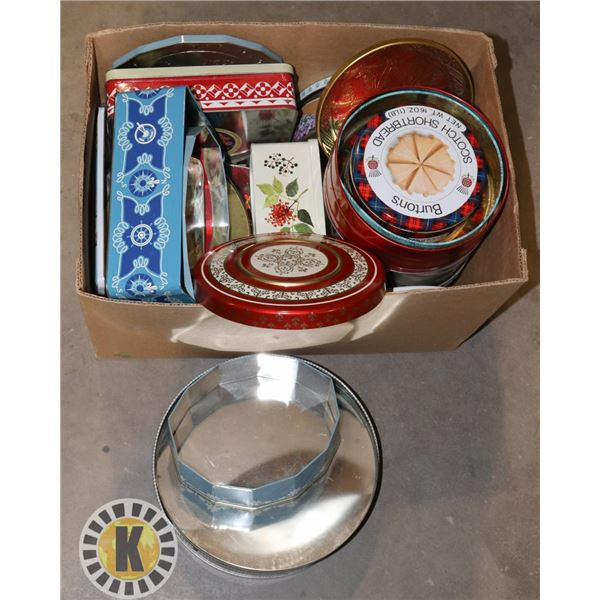 BOX OF ASSORTED COOKIE TIN CANS