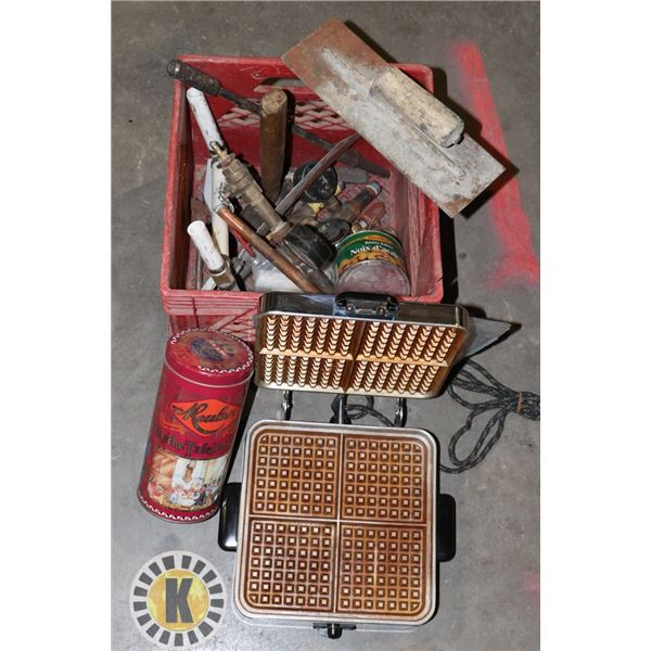 SMALL CRATE WITH WAFFLE MAKER AND ASSORTED ITEMS