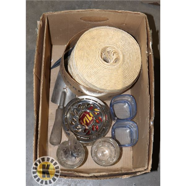 BOX OF CWC THIN ROPE AND DRINKING GLASSES