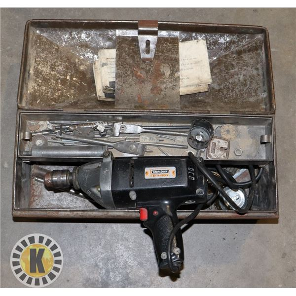 BROWN TOOL BOX WITH ELECTRIC DRILL