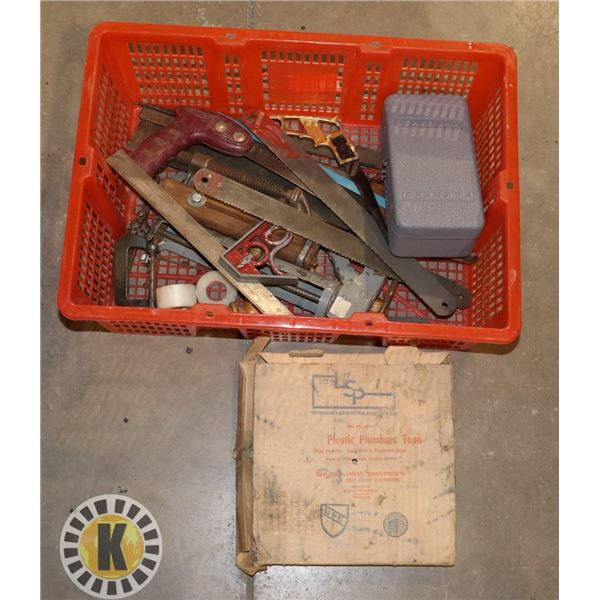 ASSORTED BASKET WITH TOOLS INCLUDES A HAND SAW