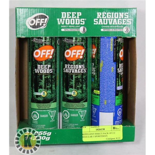 REPELLENT INSECT PACK OF 2 2 REGULAR 1 SPORTSMAN