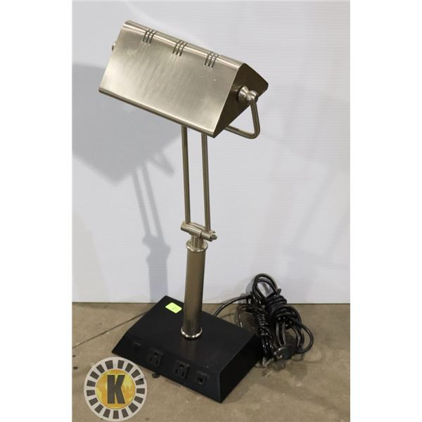 ESTATE TABLE LAMP WITH BUILT IN POWER PLUGS