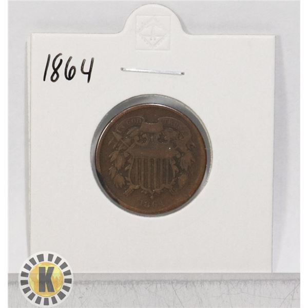 1864 OLD USA TWO CENT COIN