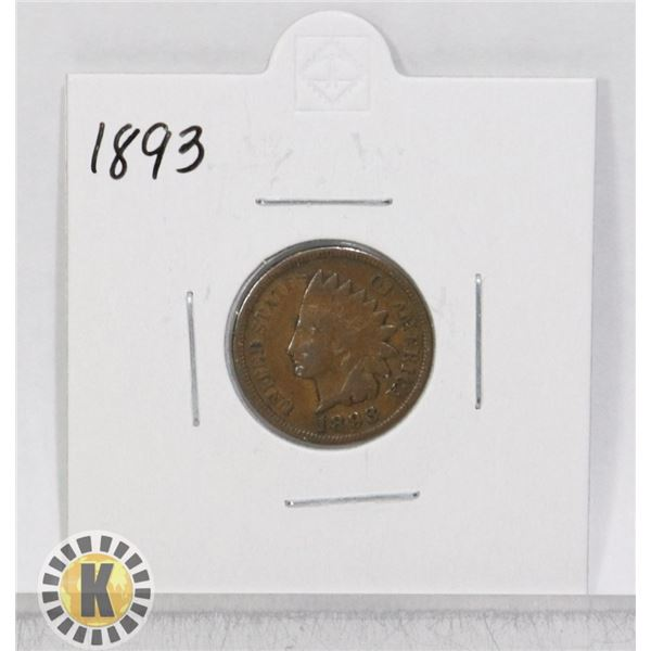 1893 OLD USA INDIAN HEAD ONE CENT COIN