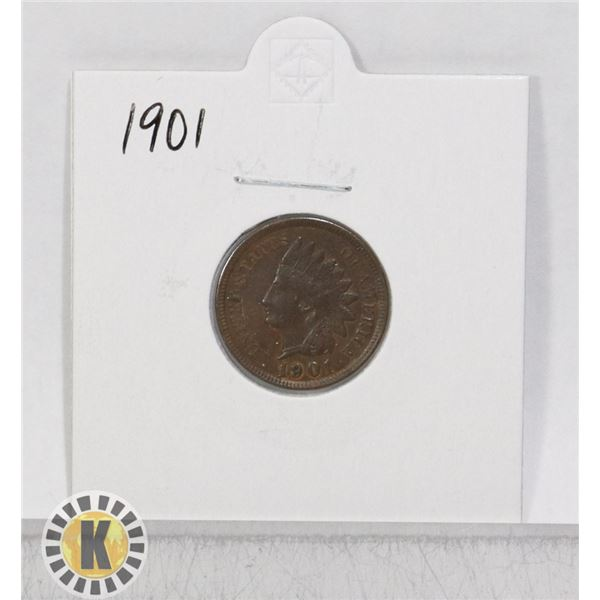 1901 OLD USA INDIAN HEAD ONE CENT COIN