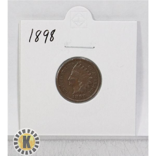 1898 OLD USA INDIAN HEAD ONE CENT COIN