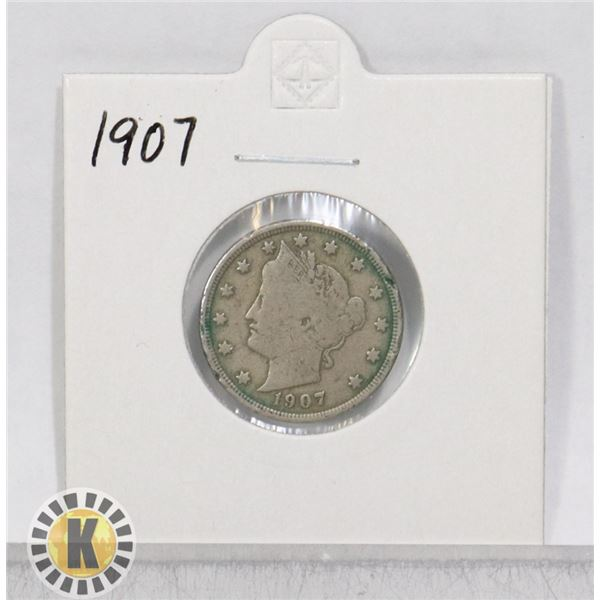 """1907 OLD USA """"V"""" FIVE CENTS COIN"""