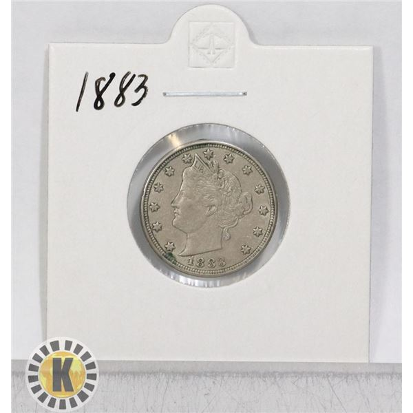 """1883 OLD USA """"V"""" FIVE CENTS COIN"""