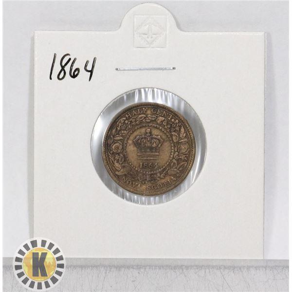 1864 NOVA SCOTIA HALF CENT COIN