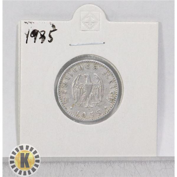 1935 WWII NAZI GERMANY 50 REICHSPFENNIG COIN
