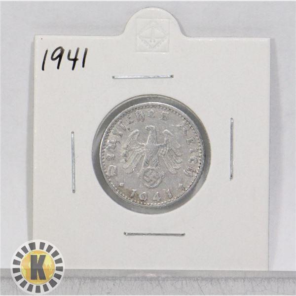 1941 WWII NAZI GERMANY 50 REICHSPFENNIG COIN