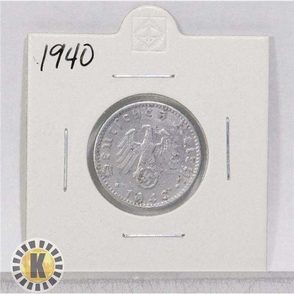 1940 WWII NAZI GERMANY 50 REICHSPFENNIG COIN