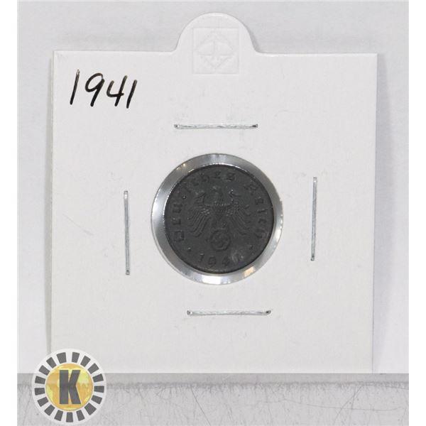 1941 WWII NAZI GERMANY 1 REICHSPFENNIG COIN
