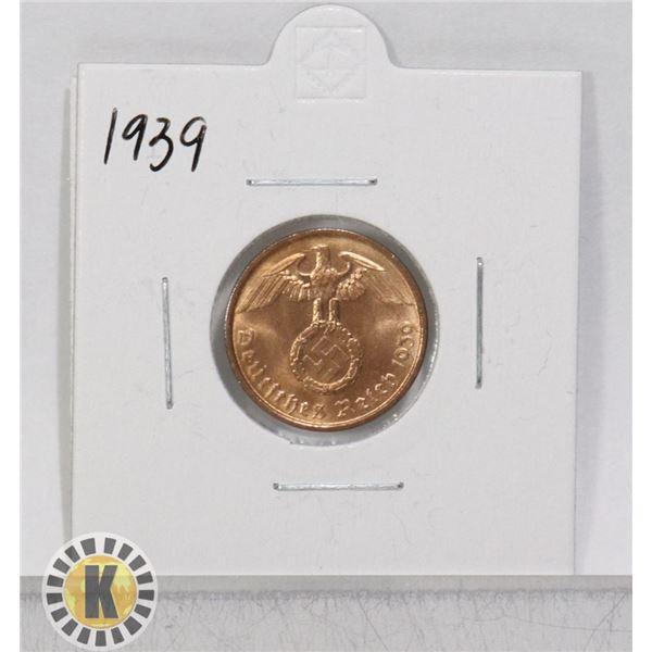 1939 WWII NAZI GERMANY 2 REICHSPFENNIG COIN
