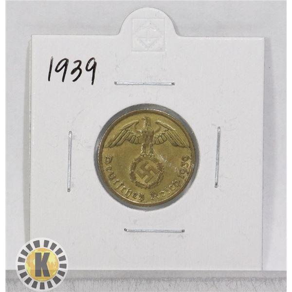 1939 WWII NAZI GERMANY 10 REICHSPFENNIG COIN