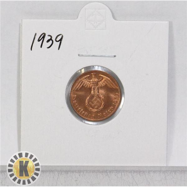 1939 WWII NAZI GERMANY 1 REICHSPFENNIG COIN