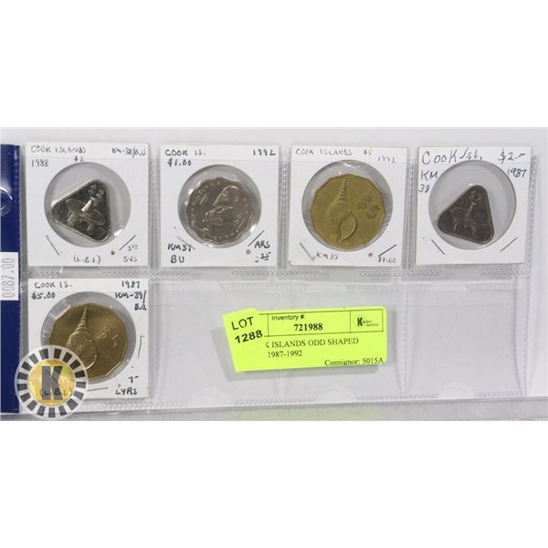 5 COOK ISLANDS ODD SHAPED COINS 1987-1992