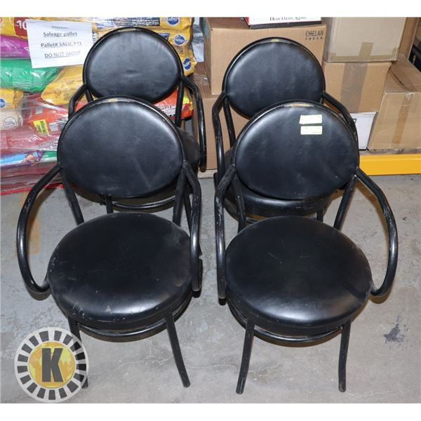 BAR CHAIRS SET OF 4 BLACK CUSHIONED