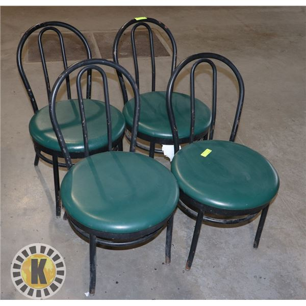 SET OF 4 GREEN CUSHIONED BAR CHAIRS