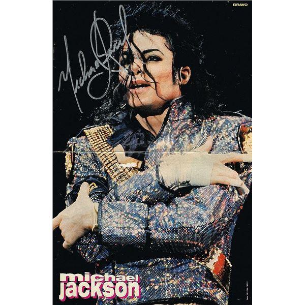 MICHAEL JACKSON SIGNED DANGEROUS TOUR POSTER.